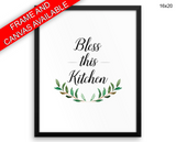 Bless Print, Beautiful Wall Art with Frame and Canvas options available Kitchen Decor