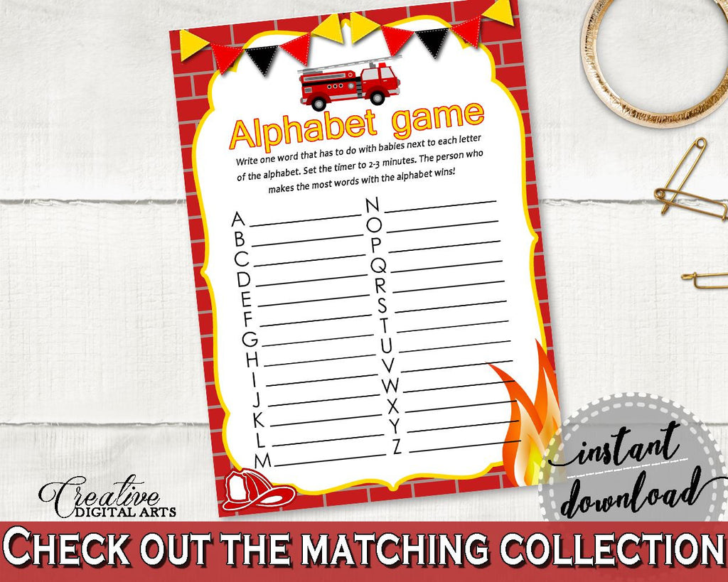 Alphabet Game Baby Shower Alphabet Game Fireman Baby Shower Alphabet Game Red Yellow Baby Shower Fireman Alphabet Game printable LUWX6 - Digital Product