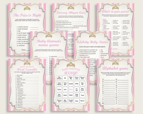 Royal Princess Baby Shower Games Printable Pack, Pink Gold Baby Shower Games Package Girl, Royal Princess Games Bundle Set, Instant rp002