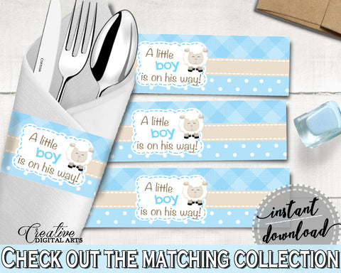 Blue Baby Shower Boy Lamb NAPKIN RINGS printable, sheep baby shower blue theme, digital file, Jpg Pdf, instant download - fa001