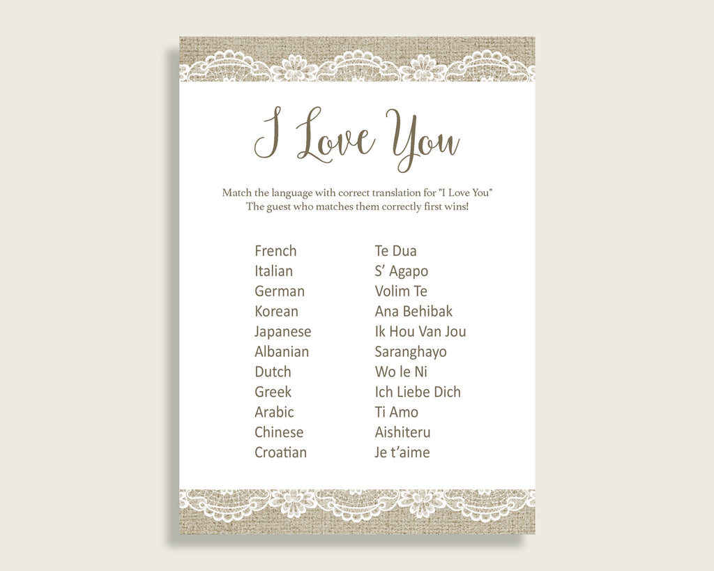 I Love You Game Bridal Shower I Love You Game Burlap And Lace Bridal Shower I Love You Game Bridal Shower Burlap And Lace I Love You NR0BX