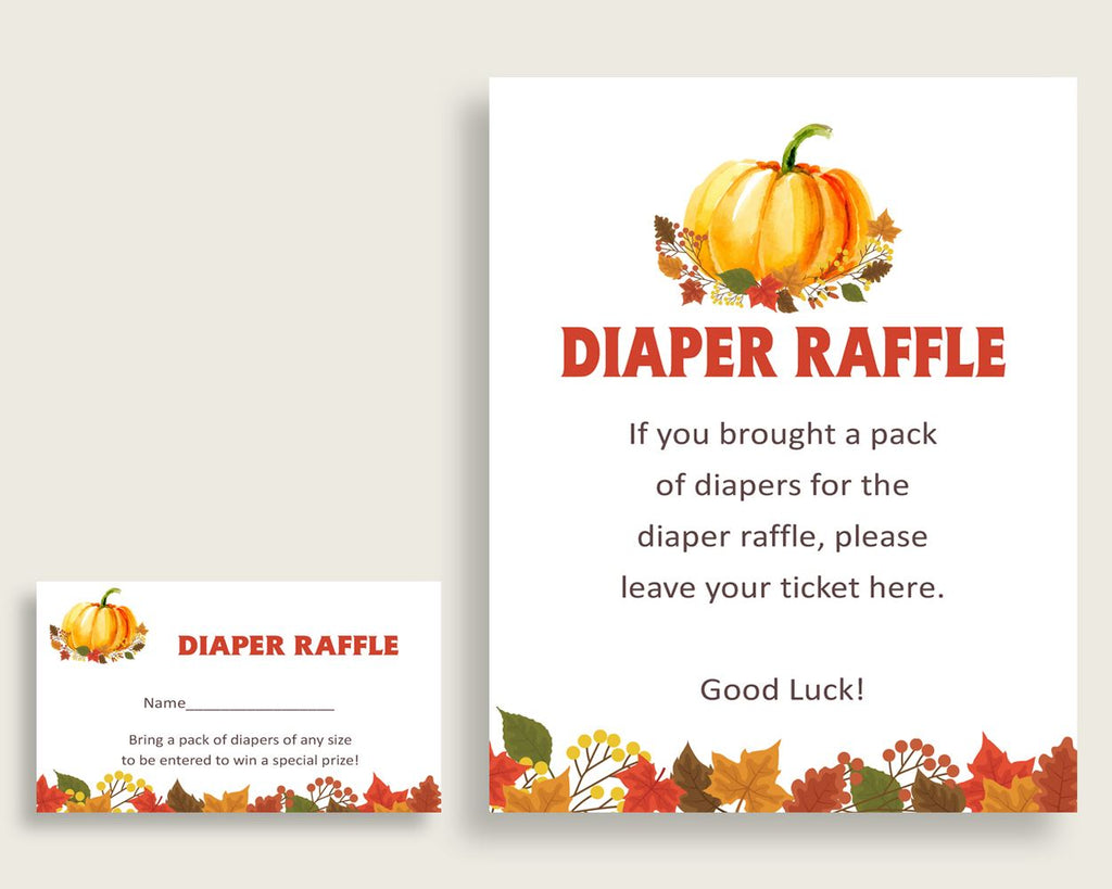 Diaper Raffle Baby Shower Diaper Raffle Fall Baby Shower Diaper Raffle Baby Shower Pumpkin Diaper Raffle Orange Brown party ideas BPK3D - Digital Product