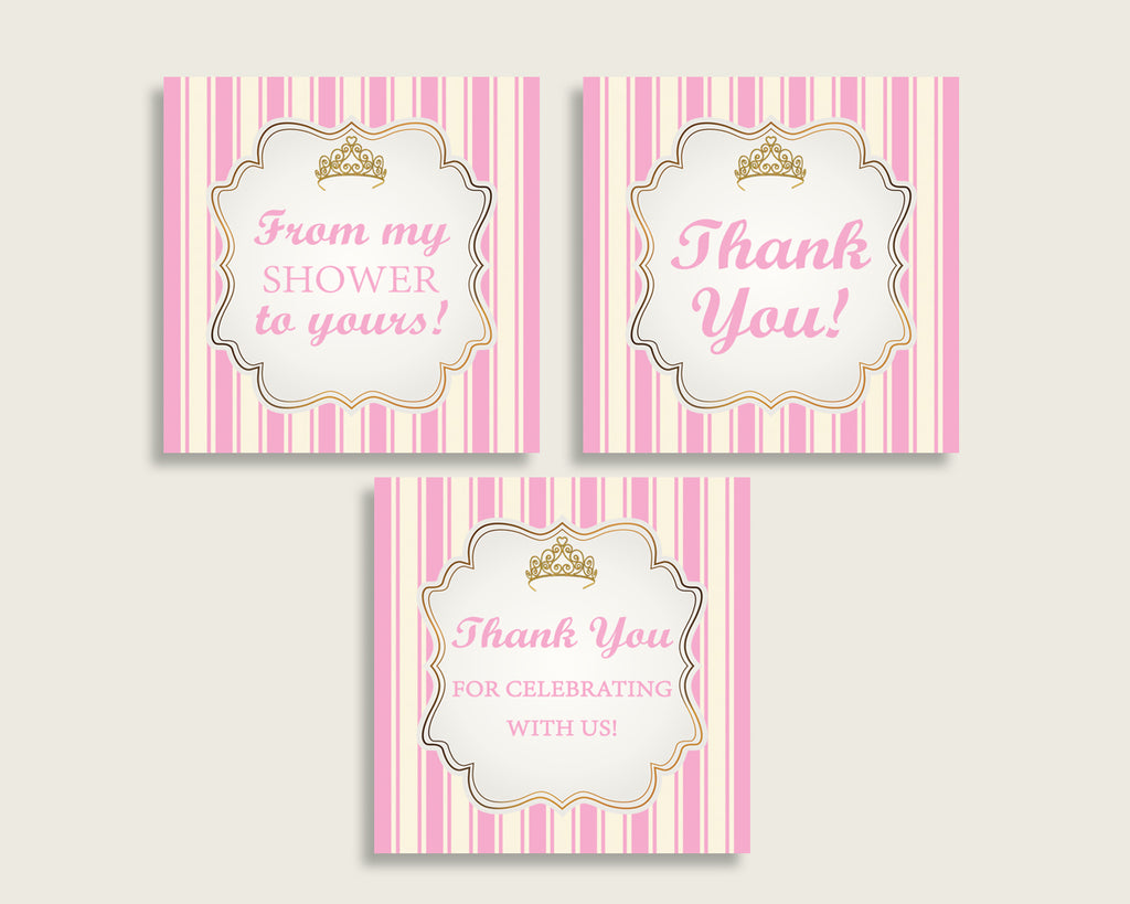 Royal Princess Baby Shower Square Thank You Tags 2 inch Printable, Pink Gold Girl Shower Gift Tags, Hang Tags Labels, Instant Download rp002