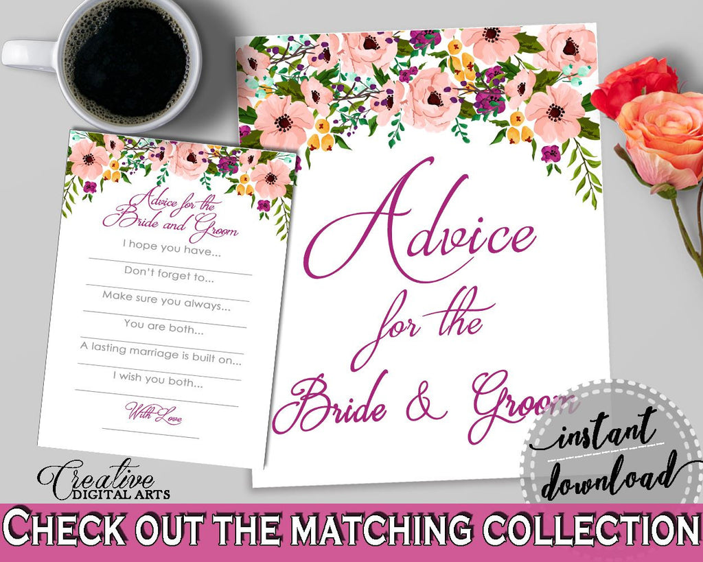 Watercolor Flowers Bridal Shower Advice For The Bride And Groom In
