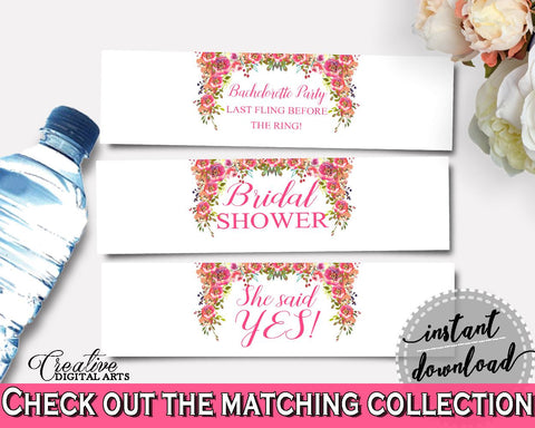 Bottle Labels Bridal Shower Bottle Labels Spring Flowers Bridal Shower Bottle Labels Bridal Shower Spring Flowers Bottle Labels Pink UY5IG - Digital Product