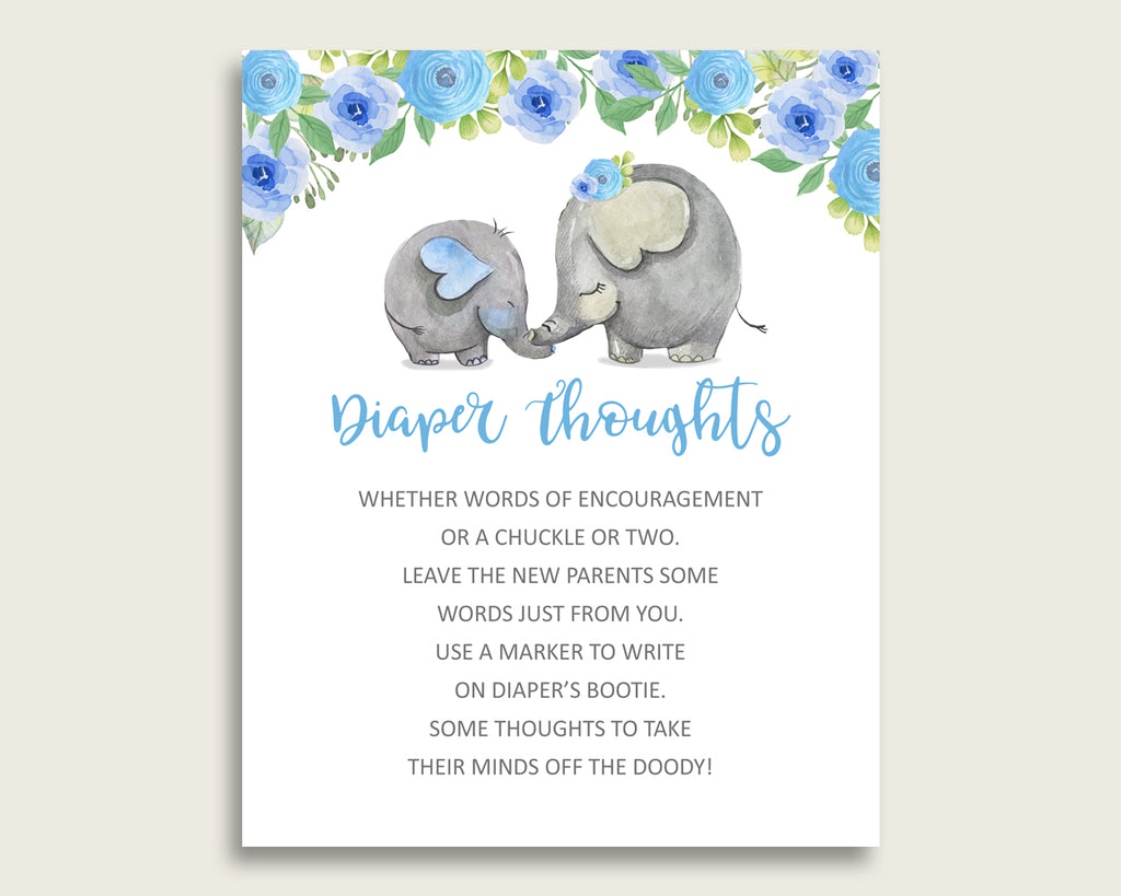 Elephant Blue Baby Shower Diaper Thoughts Printable, Boy Blue Gray Late Night Diaper Sign, Words For Wee Hours, Write On Diaper ebl01
