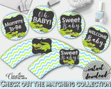 Baby shower CUPCAKE TOPPERS and CUPCAKE WRAPPERS printable with green alligator and blue color theme for boy, instant download - ap002