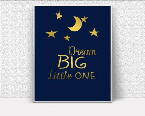 Dreams Prints Wall Art Nursery Digital Download Dreams  Instant Download Nursery Frame And Canvas Available Gold Stars Gold Nursery - Digital Download