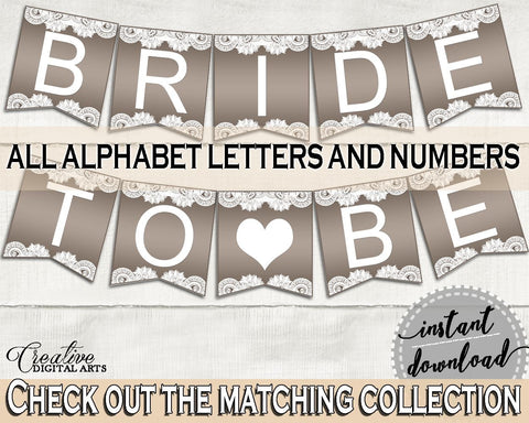 Banner in Traditional Lace Bridal Shower Brown And Silver Theme, shower letter ornament, silver lace theme, party supplies, prints - Z2DRE - Digital Product