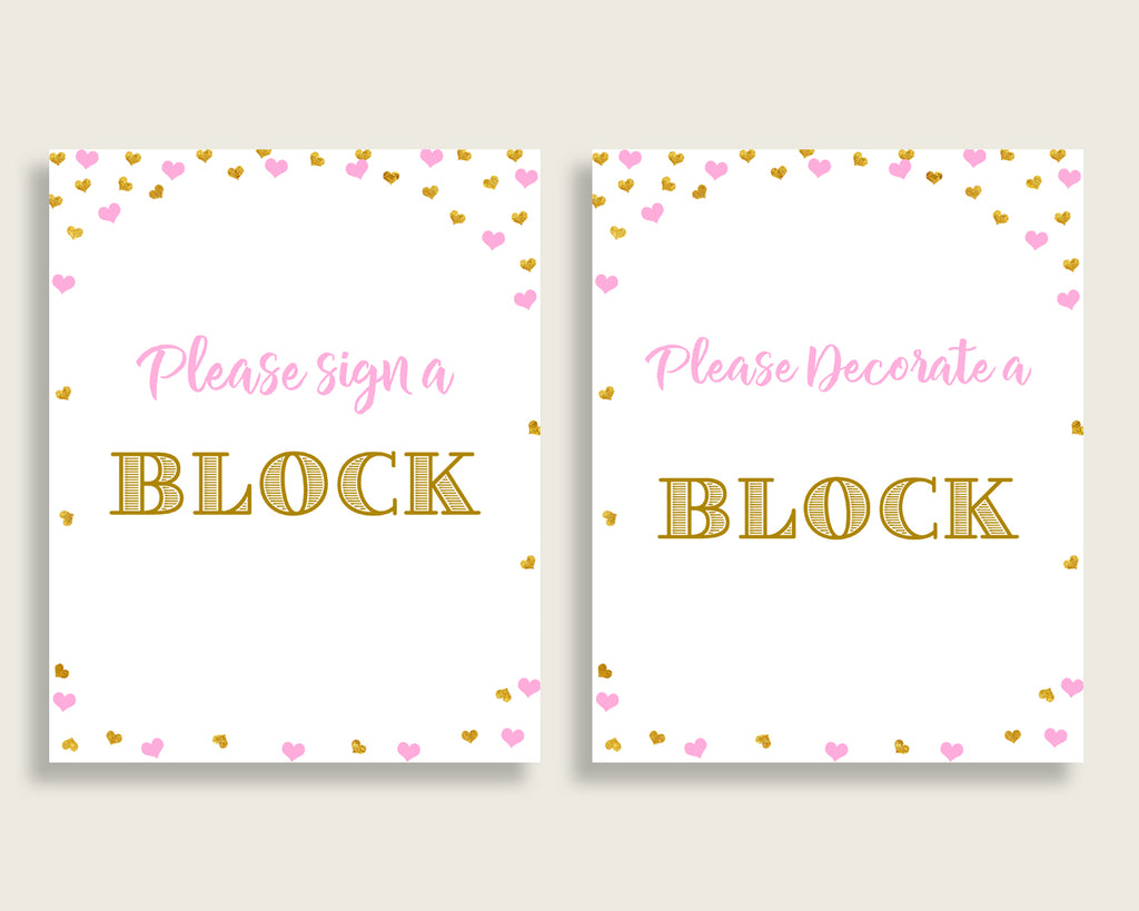 Sign A Block Baby Shower Decorate A Block Hearts Baby Shower Sign A Block Baby Shower Hearts Decorate A Block Pink Gold party theme bsh01