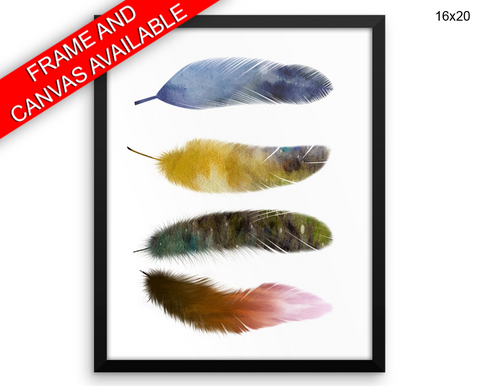 Feathers Watecolor Print, Beautiful Wall Art with Frame and Canvas options available Home Decor