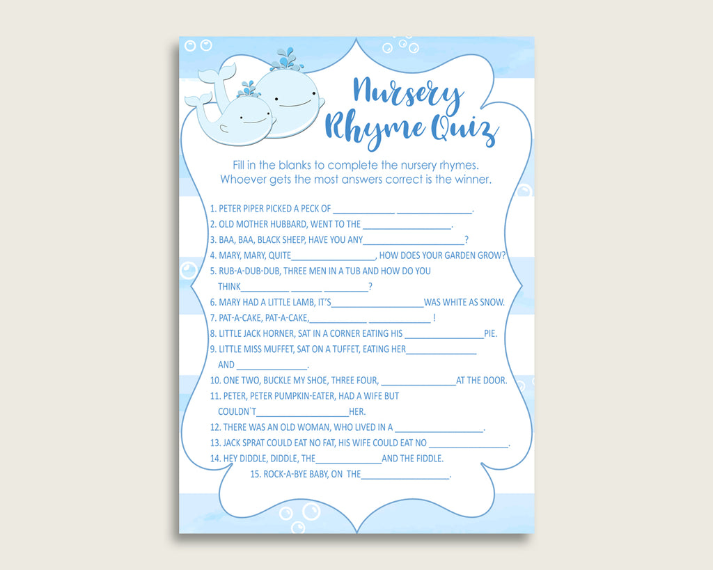 Whale Nursery Rhyme Quiz Printable, Blue White Nursery Rhyme Game, Blue White Baby Shower Boy Activities, Instant Download, Light Blue wbl01