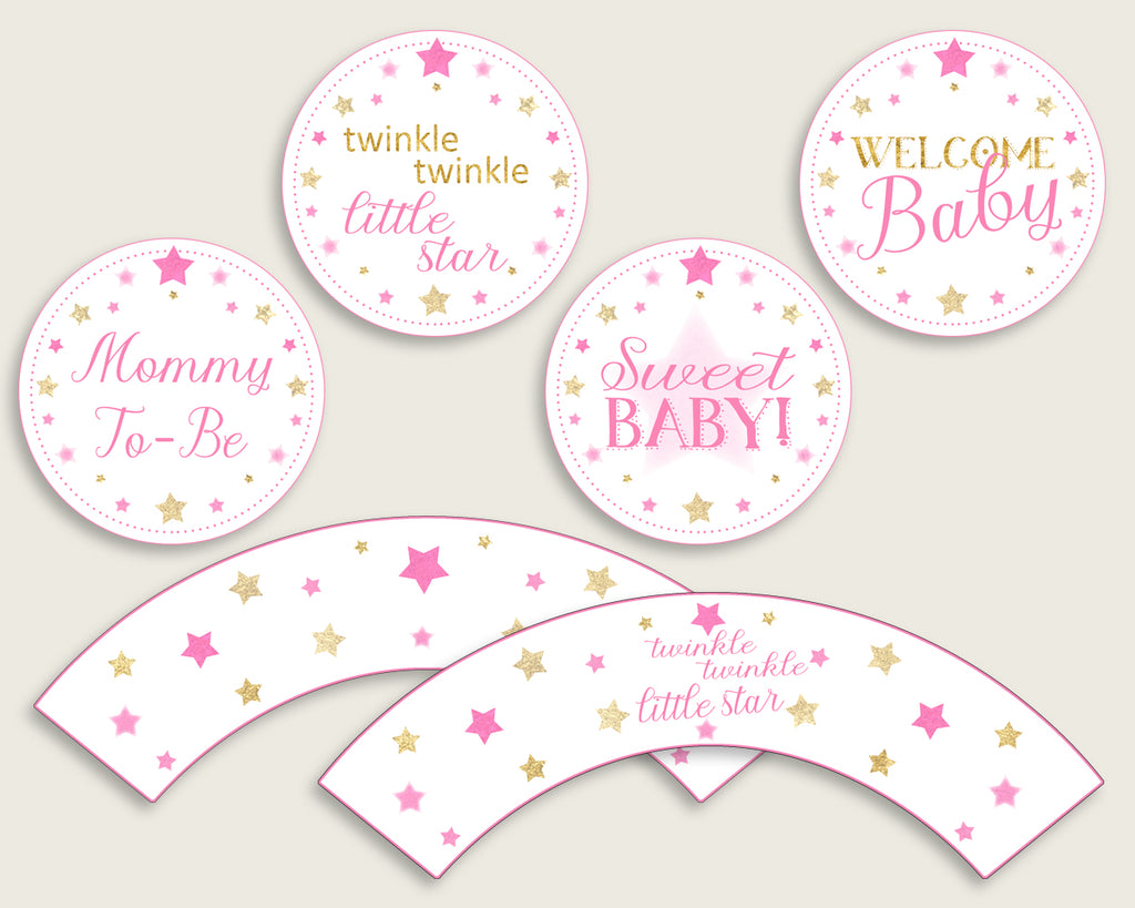 Twinkle Star Cupcake Toppers, Pink Gold Cupcake Wrappers, Toppers Wrappers Baby Shower Girl, Instant Download, Cute Stars bsg01