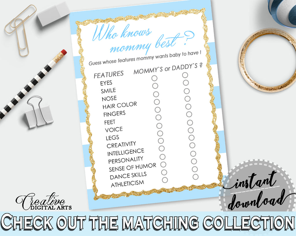 Who KNOWS MOMMY BEST baby shower printable game with blue and white stripes theme, gold glitter, instant download - bs002