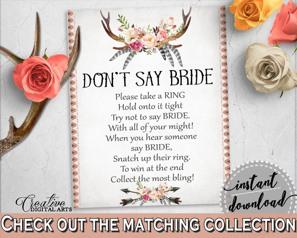 Antlers Flowers Bohemian Bridal Shower Don't Say Bride in Gray and Pink, please take a ring, deer horns, printables, prints, pdf jpg - MVR4R - Digital Product