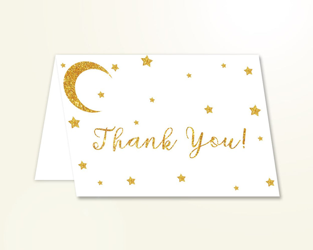 Thank You Card Baby Shower Thank You Card Stars Baby Shower Thank You Card Baby Shower Stars Thank You Card Gold White party plan RKA6V - Digital Product