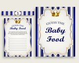 Blue Gold Royal Prince Guess The Baby Food Game Printable, Boy Baby Shower Food Guessing Game Activity, Instant Download, Royal Blue rp001