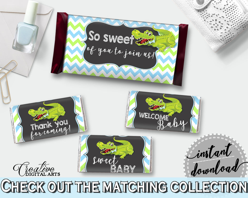 Baby shower CANDY BAR decoration wrappers and labels printable with green alligator and blue color theme for boy, instant download - ap002