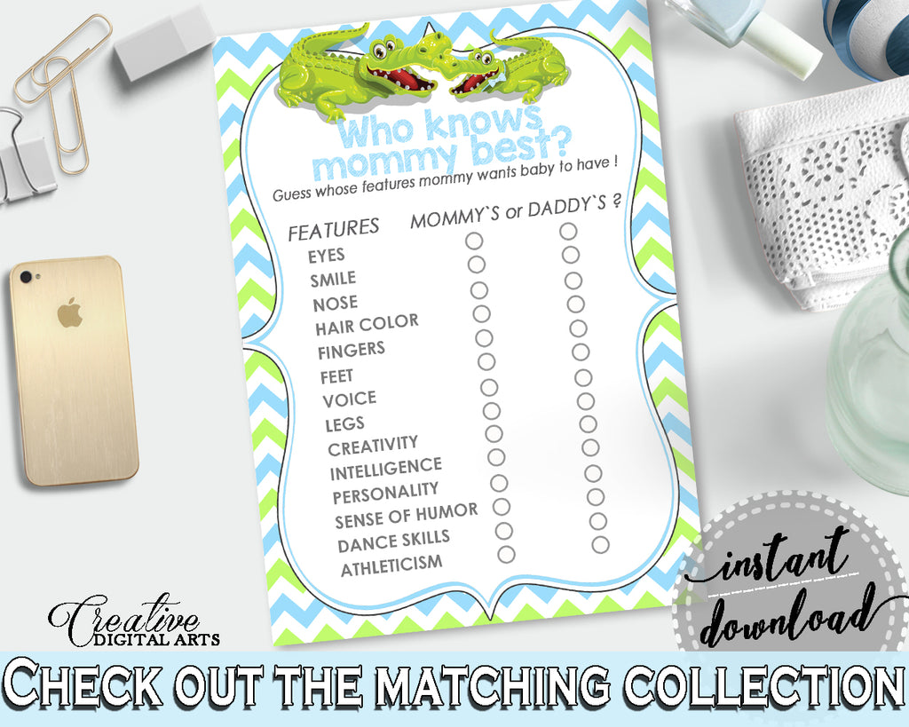 WHO KNOWS MOMMY BEST baby shower game with green alligator and blue color theme, instant download - ap002