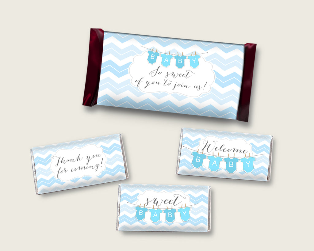Chevron Hershey Candy Bar Wrapper Printable, Blue White Chocolate Bar Wrappers, Boy Shower Candy Labels, Instant Download, Light Blue cbl01