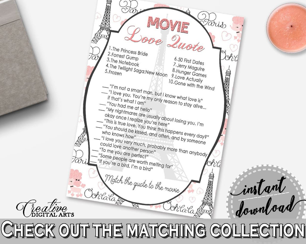 Movie Love Quote Game In Paris Bridal Shower Pink And Gray Theme