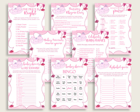 Pink Whale Baby Shower Games Printable Pack, Pink White Baby Shower Games Package Girl, Pink Whale Games Bundle Set, Instant Download, wbl02