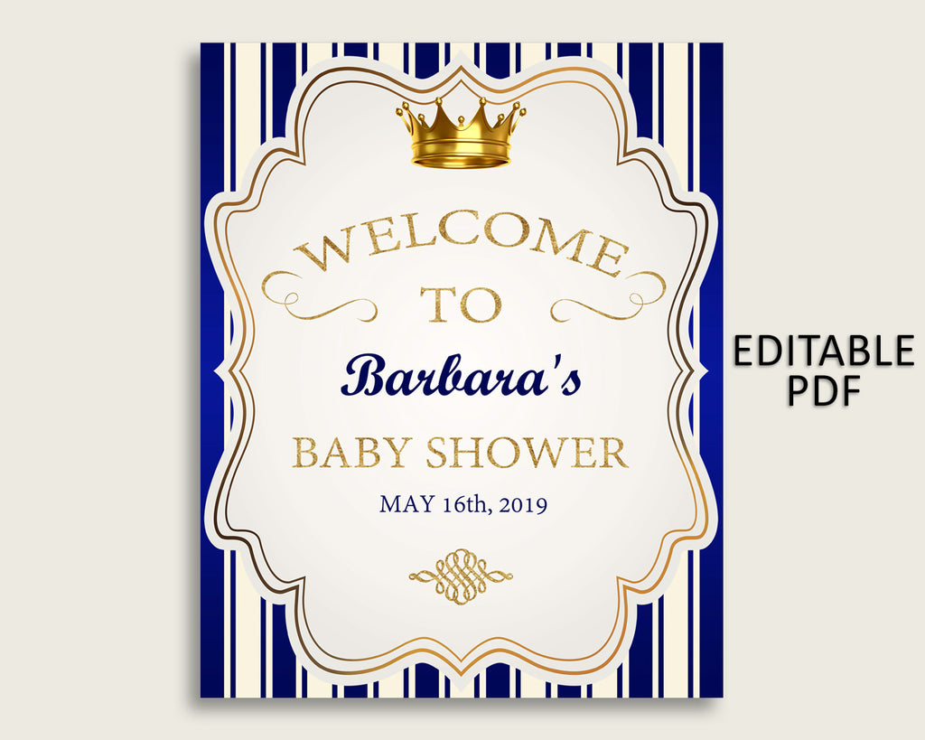 Blue Gold Royal Prince Baby Shower Welcome Sign Printable, Party Large Sign, Editable Welcome Sign Boy, Yard Sign, Instant Download, rp001