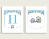 Elephant Blue Baby Shower Banner All Letters, Birthday Party Banner Printable A-Z, Blue Gray Banner Decoration Letters Boy, Mammoth ebl01