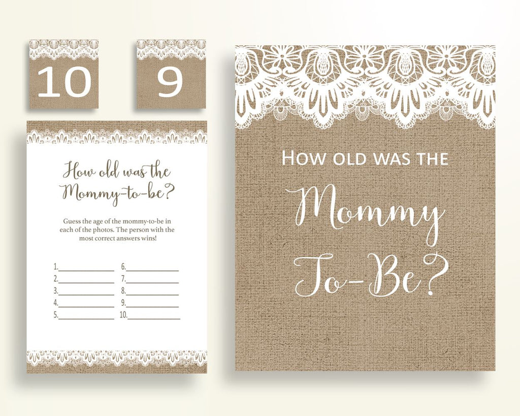 How Old Was Mommy Baby Shower How Old Was Mommy Burlap Lace Baby Shower How Old Was Mommy Baby Shower Burlap Lace How Old Was Mommy W1A9S - Digital Product