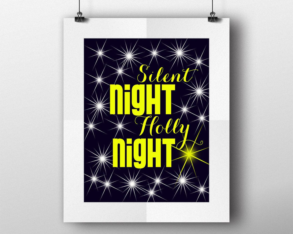 Wall Art Silent Night Holly Night Digital Print Silent Night Holly Night Poster Art Silent Night Holly Night Wall Art Print Silent Night - Digital Download