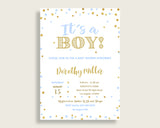 Invitation Baby Shower Invitation Confetti Baby Shower Invitation Blue Gold Baby Shower Confetti Invitation party ideas party décor cb001