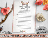 Antlers Flowers Bohemian Bridal Shower Two Truths And A Lie Game in Gray and Pink, unique bridal, boho rustic shower, party plan - MVR4R - Digital Product