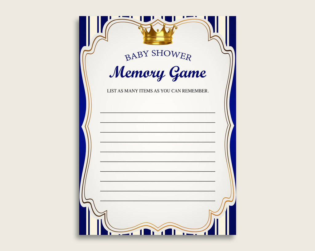 Royal Prince Baby Shower Memory Game, Blue Gold Memory Guessing Game Printable, Baby Shower Boy, Instant Download, Royal Blue rp001
