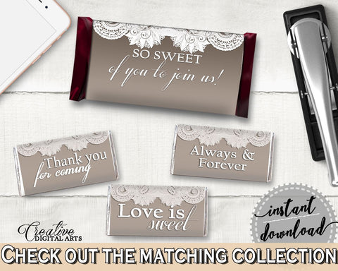 Brown And Silver Traditional Lace Bridal Shower Theme: Hershey Mini And Standard Wrappers - candy labels, customizable files - Z2DRE - Digital Product