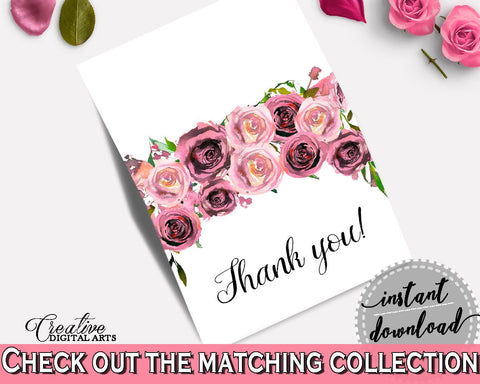 Thank You Card Bridal Shower Thank You Card Floral Bridal Shower Thank You Card Bridal Shower Floral Thank You Card Pink Purple - BQ24C - Digital Product