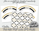 Baby shower CUPCAKE TOPPERS and cupcake WRAPPERS printable with black white stripes theme for boys and girls, instant download - bs001