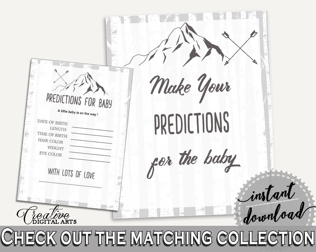 Baby Predictions Baby Shower Baby Predictions Adventure Mountain Baby Shower Baby Predictions Gray White Baby Shower Adventure S67CJ - Digital Product