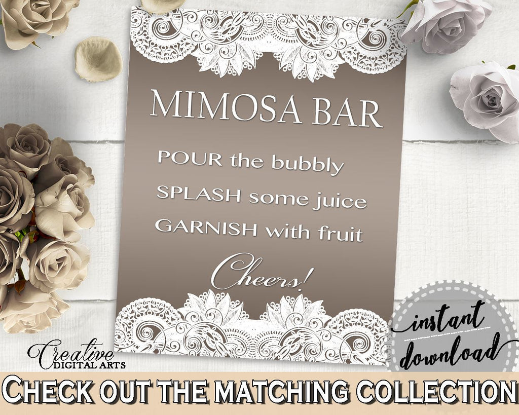 Brown And Silver Traditional Lace Bridal Shower Theme: Mimosa Bar Sign - garnish, elegant bridal, party theme, customizable files - Z2DRE - Digital Product