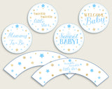 Stars Cupcake Toppers, Blue Gold Cupcake Wrappers, Toppers Wrappers Baby Shower Boy, Instant Download, Most Popular Little Star bsr01