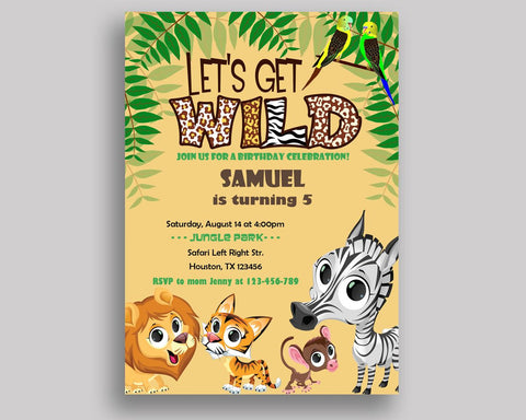 Animals Birthday Invitation Safari Birthday Party Invitation Animals Birthday Party Safari Invitation Boy Girl wild animals, backside 483QC - Digital Product