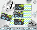 Baby shower NAPKIN RINGS printable with green alligator and blue color theme, instant download - ap002