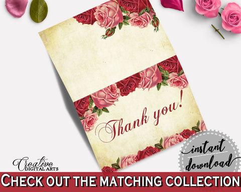 Thank You Card Bridal Shower Thank You Card Vintage Bridal Shower Thank You Card Bridal Shower Vintage Thank You Card Red Pink digital XBJK2 - Digital Product
