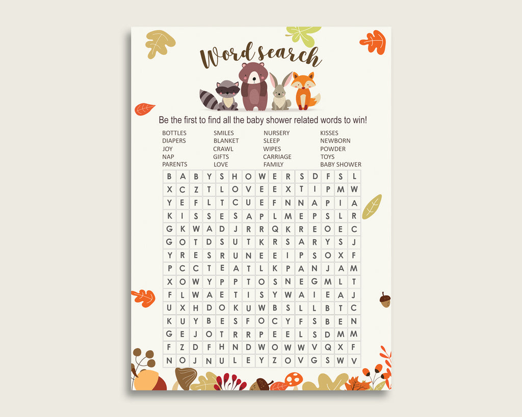 Woodland Word Search Game, Brown Beige Baby Shower Word Search Cards Printable, Gender Neutral Baby Shower Activities, Hidden Words w0001