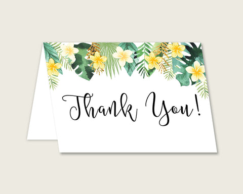 Green Yellow Thank You Cards Printable, Tropical Baby Shower Thank You Notes, Gender Neutral Shower Thank You Folded, Instant 4N0VK