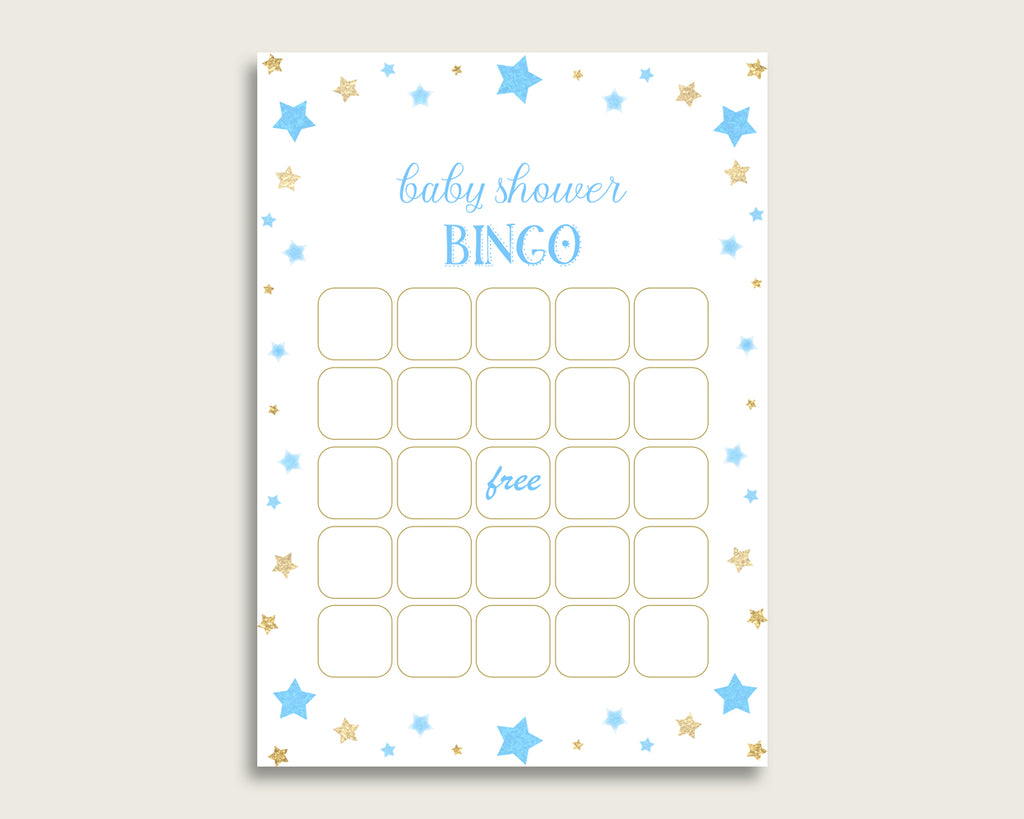 Blue Gold Baby Shower Bingo Blank Game Printable, Stars Baby Shower Boy Bingo Blank Cards, Bingo Gift Opening Game, Most Popular bsr01