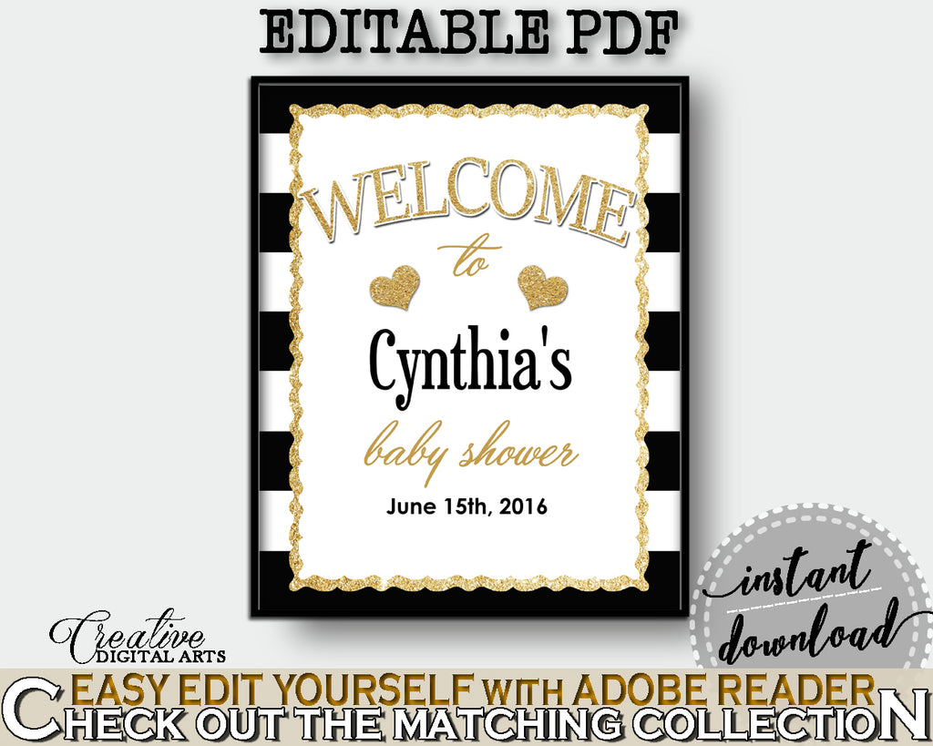 Baby Shower WELCOME sign editable with black stripes color theme printable, glitter gold, digital files, pdf jpg, instant download - bs001