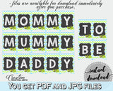 Baby shower CHAIR BANNER decoration printable with green alligator and blue color theme, instant download - ap002