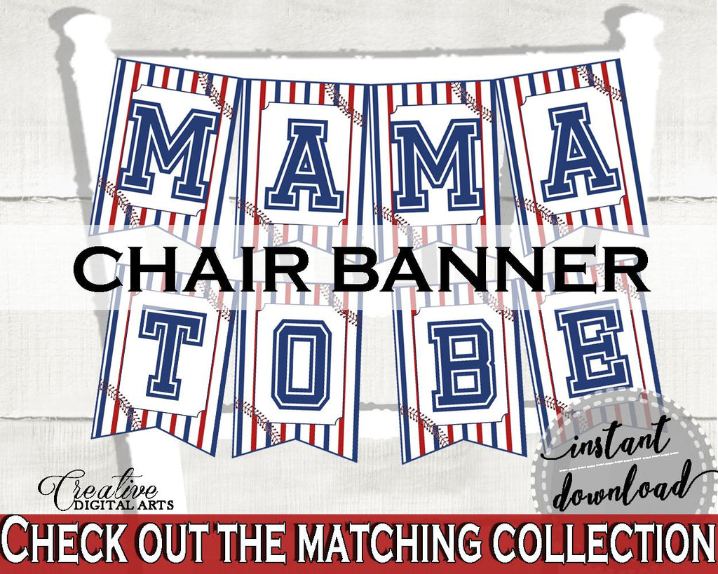 Chair Banner Baby Shower Chair Banner Baseball Baby Shower Chair Banner Baby Shower Baseball Chair Banner Blue Red instant download YKN4H - Digital Product