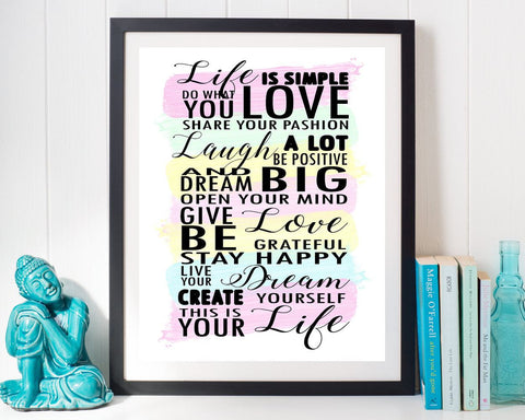 Wall Art Life Digital Print Life Poster Art Life Wall Art Print Life Inspiring Art Life Inspiring Print Life Wall Decor Life live your life - Digital Download