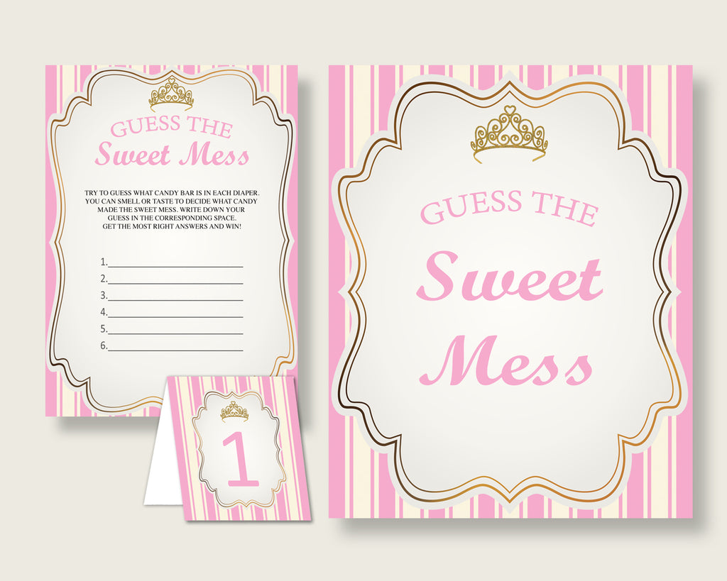 Royal Princess Guessing Game Baby Shower Girl, Pink Gold Guess The Sweet Mess Game Printable, Dirty Diaper Game, Instant Download, rp002